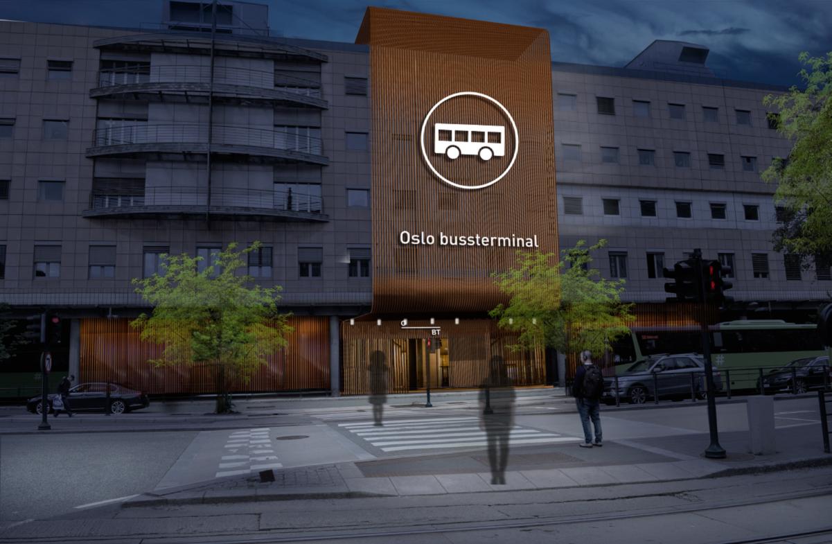 Illustrasjon av et modernisert inngangsparti ved Oslo bussterminal