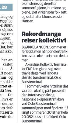 Indre Akershus Blad 18 07 2018 Avisutklipp vedrørende ferietrafikken ved Oslo Bussterminal